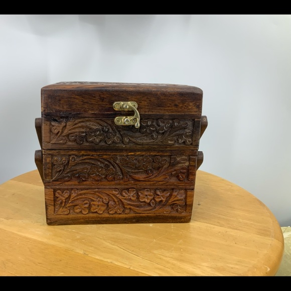 Vintage carved three-tier Velvet lined jewelry box